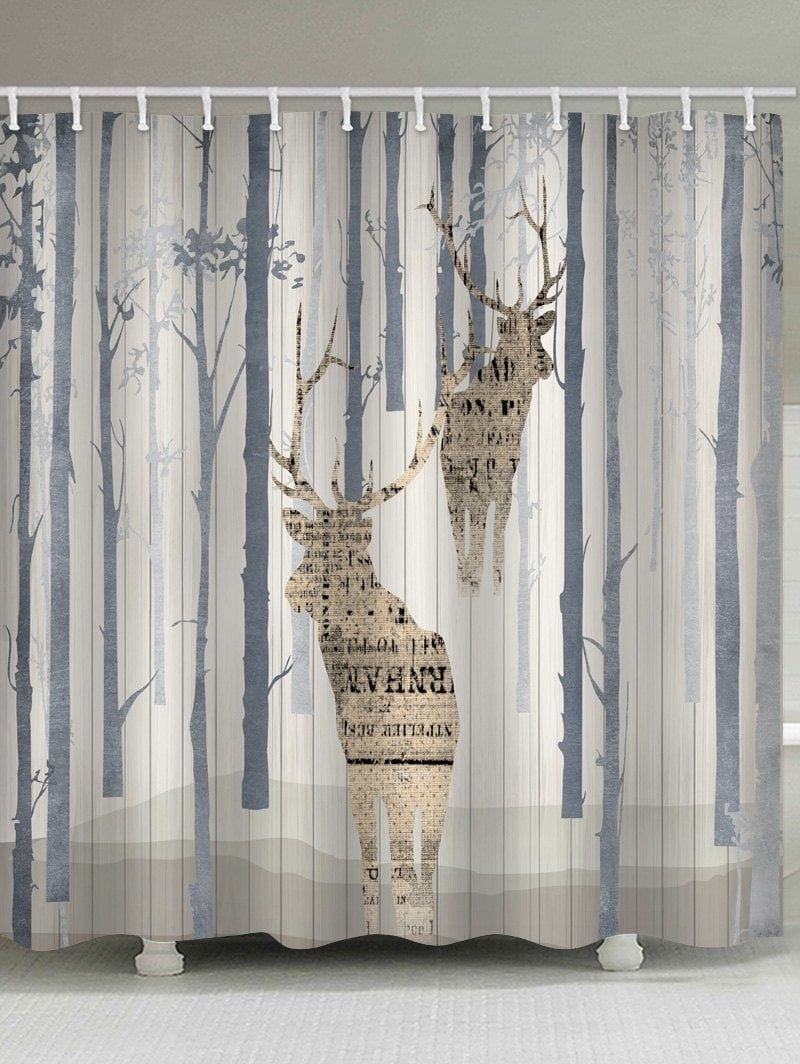 Deer Printed Waterproof Bathroom Curtain Bathroom Curtains