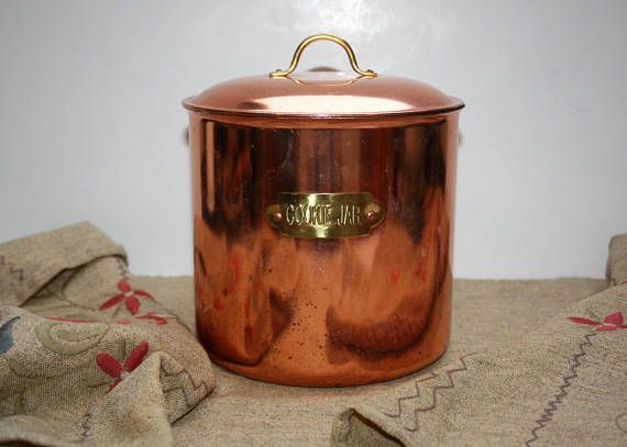 Vintage Copper Stainless Canister  Cookie Jar  Gold Handle and Plaque Metal Interior Storage Container & Vintage Copper Stainless Canister Cookie Jar Gold Handle and Plaque ...