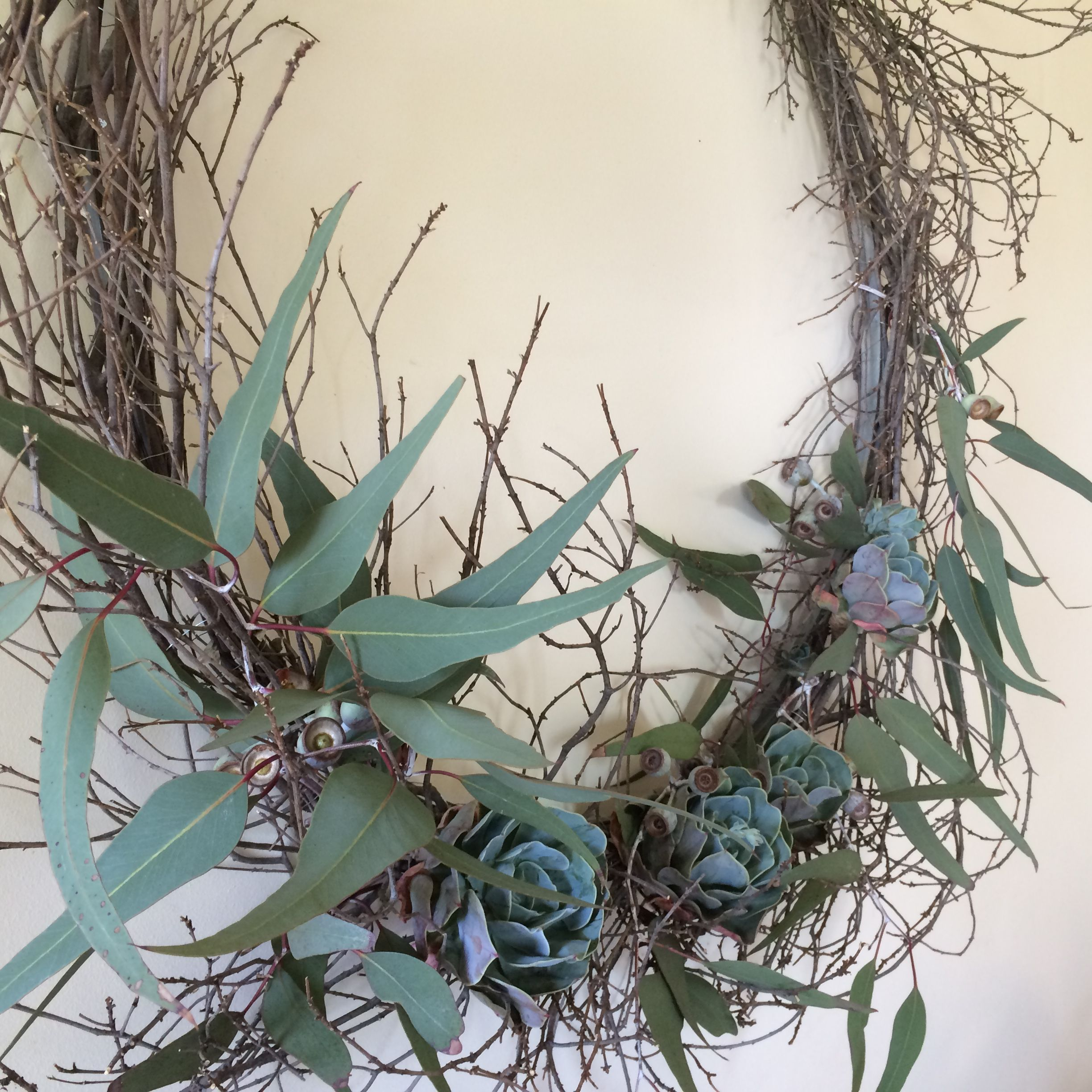 Diy Natural Christmas Wreath Made From Recycled Wire, Twigs, Succulents