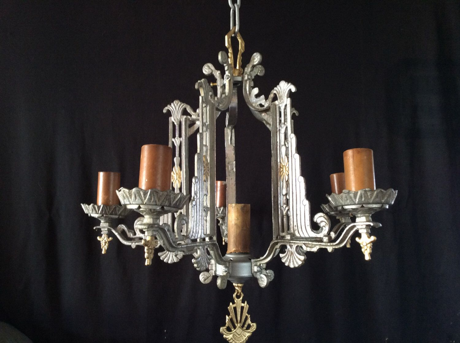 Antique Vintage Art Deco Skyser Chandelier 6 Light Late 1920s Original By Antiquelights On Etsy Https