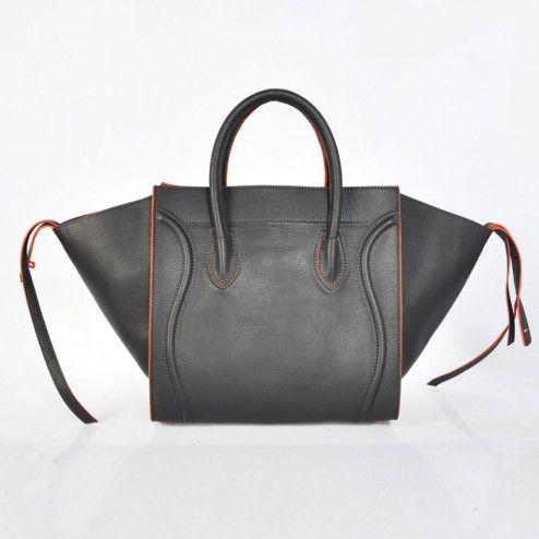 CELINE LUGGAGE PHANTOM GREY CALFSKIN W ORANGE PIPING 991011 - CELINE BAGS - HANDBAGS