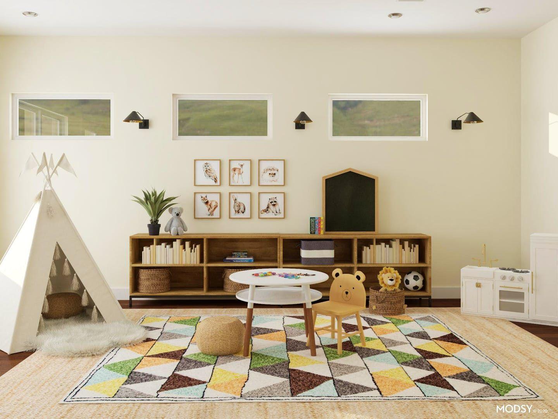 It S A Cute Zoo In Here Rustic Style Kids Room Design Ideas Kid Friendly Living Room Kids Living Rooms Living Room Playroom