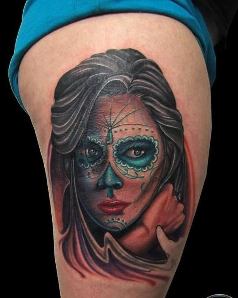 Colorful dark day of the dead girl tattoo on thigh