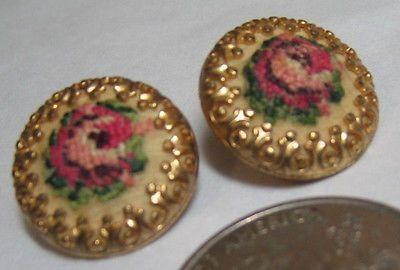 Vintage-1960s-Pink-Rose-Petitpoint-Needlepoint-EARRINGS-Floral-Filigree