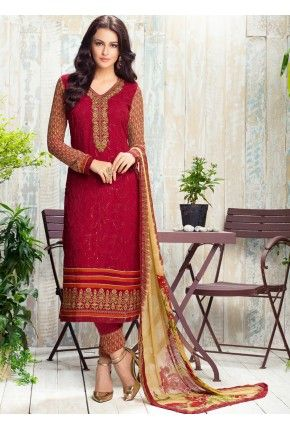 4bac41b8fb Cardinal Red Embroidered and Printed Straight Pant Suit | Casual ...
