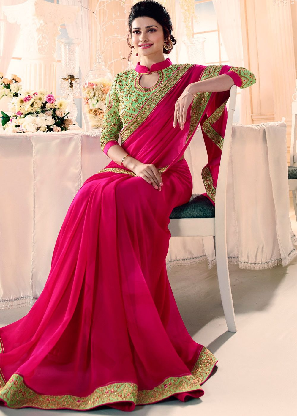 843bbcb824 Prachi Desai Pink Georgette Saree With Heavy Blouse enhanced by embroidered  lace throughout.