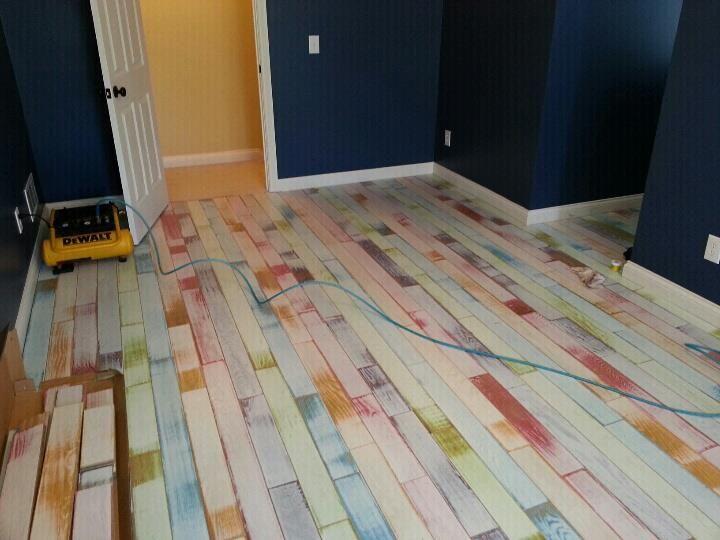 Tie Dyed Flooring From Twf Middle Of Install So Cool Handpainted Hardwoodflooring Unique Wood Tile Floors Flooring Rainbow Wood