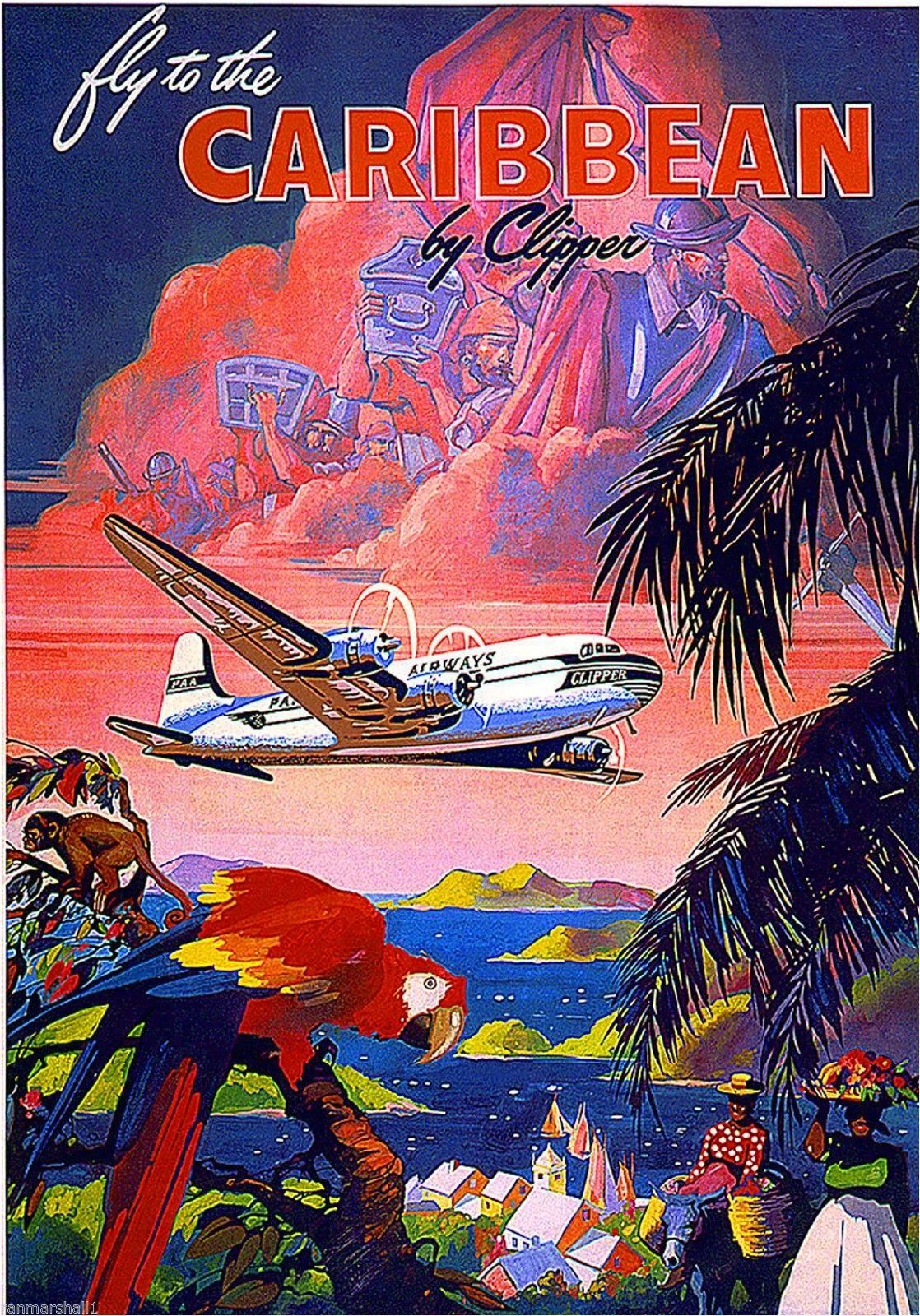 1930s Fly To Caribbean Clipper Vintage Art Travel Poster Advertisement Print