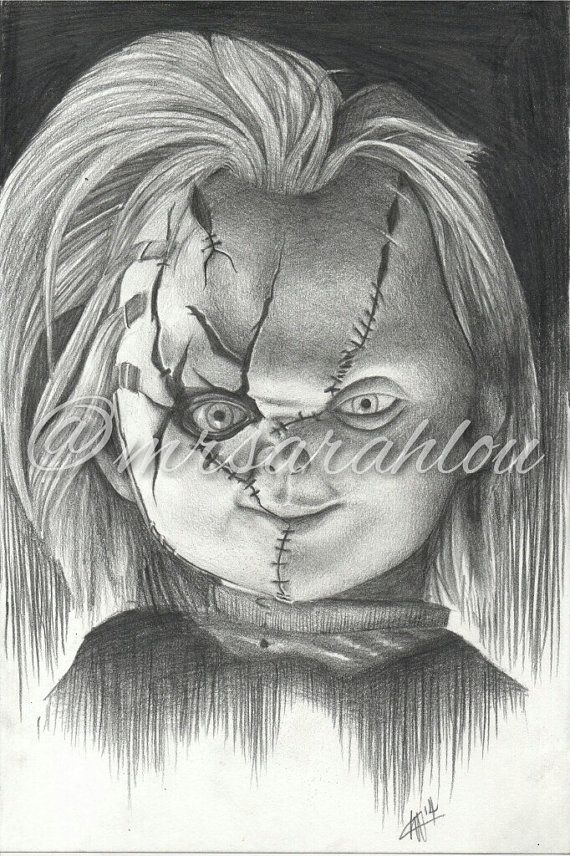 Chucky doll black and white pencil drawing on cartridge paper original handdrawn by mrsarahlou on etsy