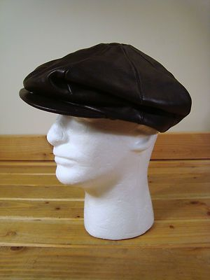 3e526f77 Mens Capas Headwear Genuine Lambskin Brown Leather Newsboy Driving Cap Hat  XL | eBay