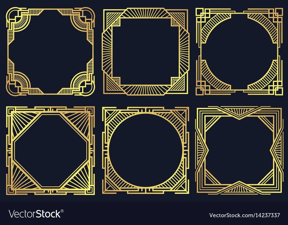 Vintage Art Deco Design Elements Old Classic Border Frames Vector Collection Template Golden Victoria Art Deco Design Elements Art Deco Font Art Deco Borders