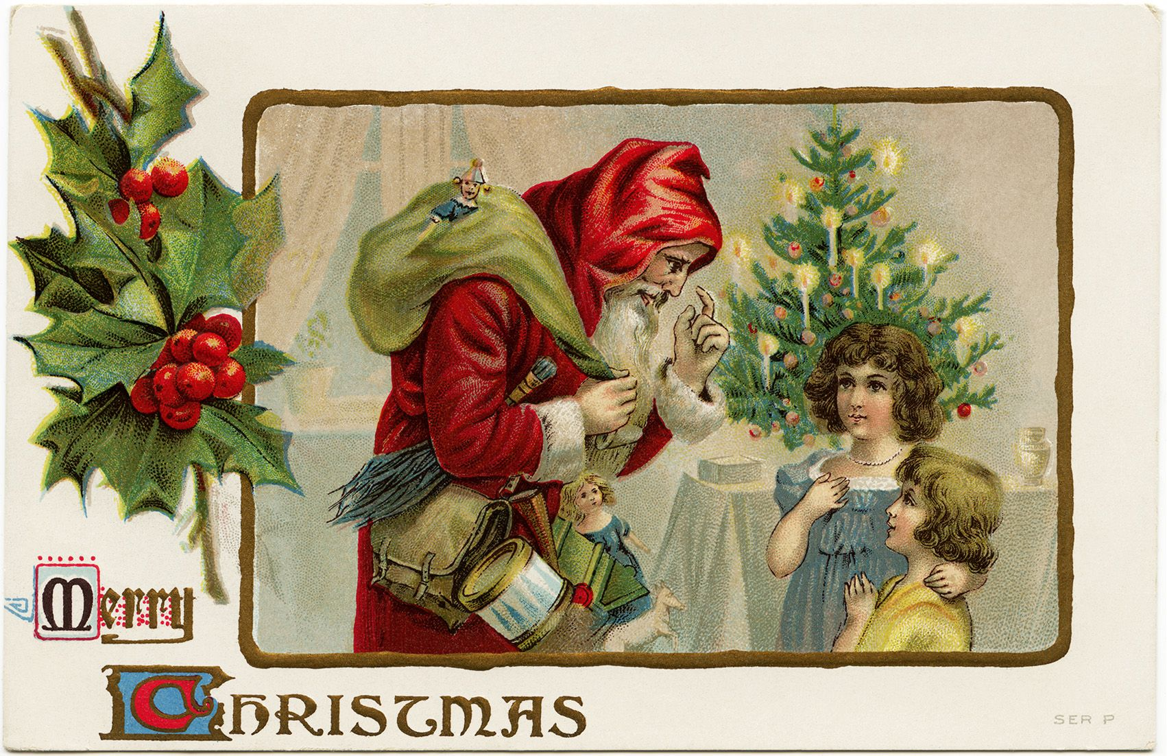 Victorian Christmas Postcard Vintage Santa Clip Art Old Fashioned Christmas Card Santa Christmas Postcard Victorian Christmas Cards Vintage Christmas Cards