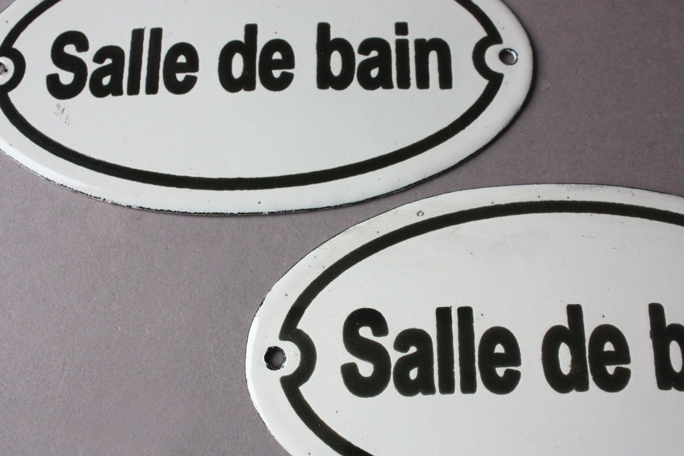 Salle De Bain Franzosisches Schild Fur Badezimmer French Door Sign Bathroom Enamel Toilettenschilder Schilder Turschilder