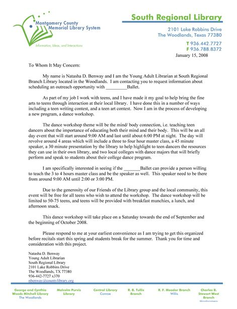 Example of Donation Letter to Studios - Montgomery County Memorial - press release template