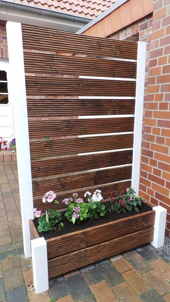 Sichtschutz mit Pflanzkübel   Blumenkasten Holz, Natur Geölt - mobiler sichtschutz garten