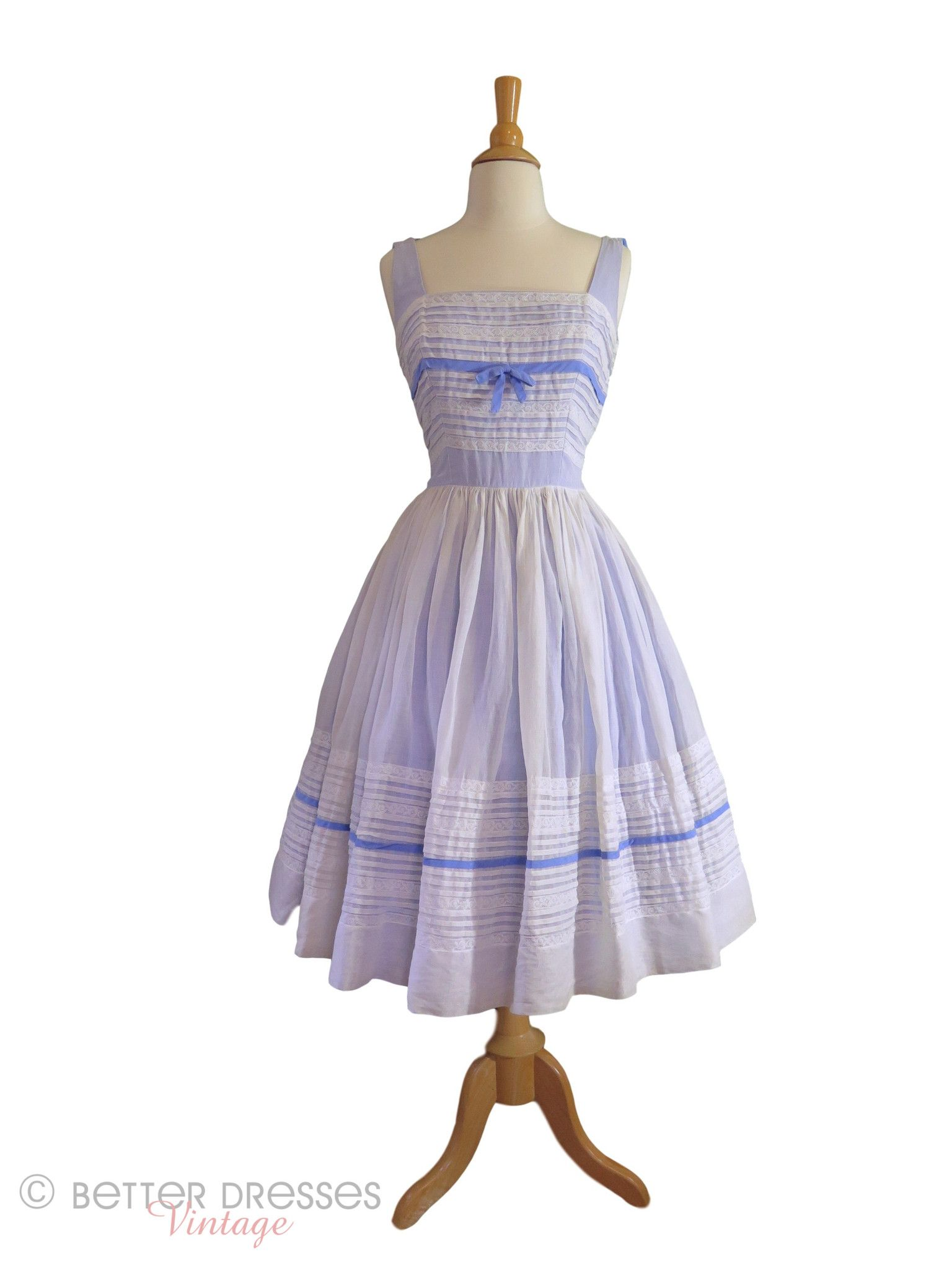 S white organdy over blue party dress sm med blue party dress