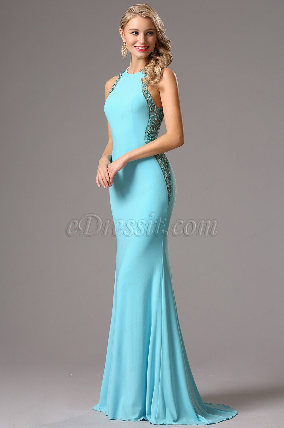 Sleeveless light blue formal gown with beaded detailed back