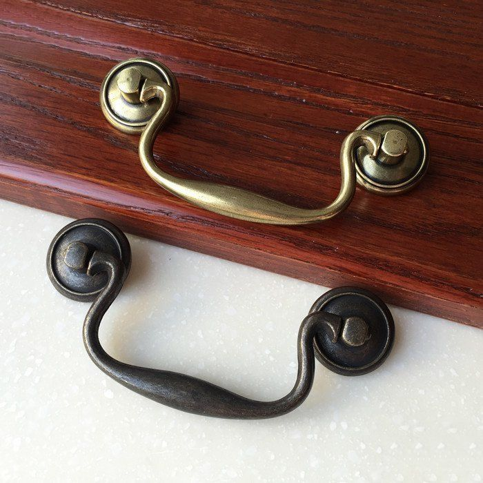 Antique Drop Bail Style Drawer Pull Handle Vintage Dresser Pull Large Vintage