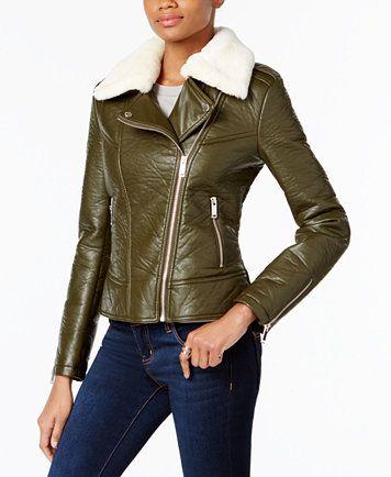 French Connection Faux Fur Trim Faux Leather Moto Jacket Reviews Coats Women Macy S Faux Leather Moto Jacket Brown Faux Leather Jacket Vegan Leather Moto Jacket