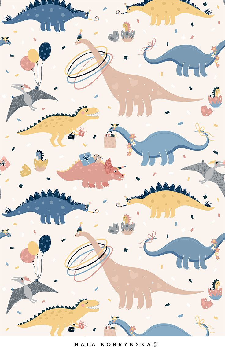 Super cute vector patterns for kids with Dino's Birthday Party. Patterns for kids beddroom