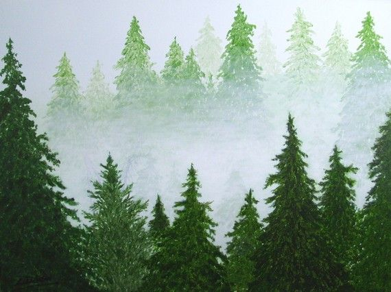Large abstract landscape tree original painting coming for Painting a forest in acrylics