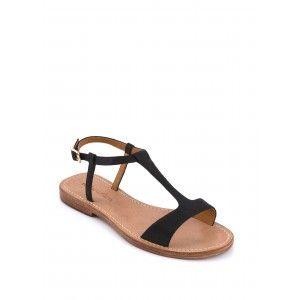 sandale plate saloma noir sandales plates chaussures femme femme bags shoes. Black Bedroom Furniture Sets. Home Design Ideas