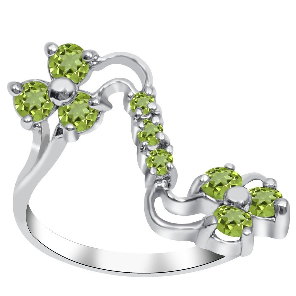 Orchid Jewelry 925 Sterling Silver 1 Carat Peridot Ring