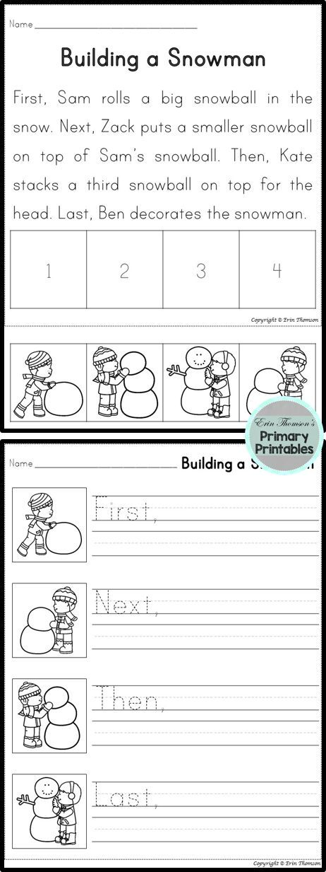 Sequencing Story ~ Building a Snowman (First, Next, Then, Last ...