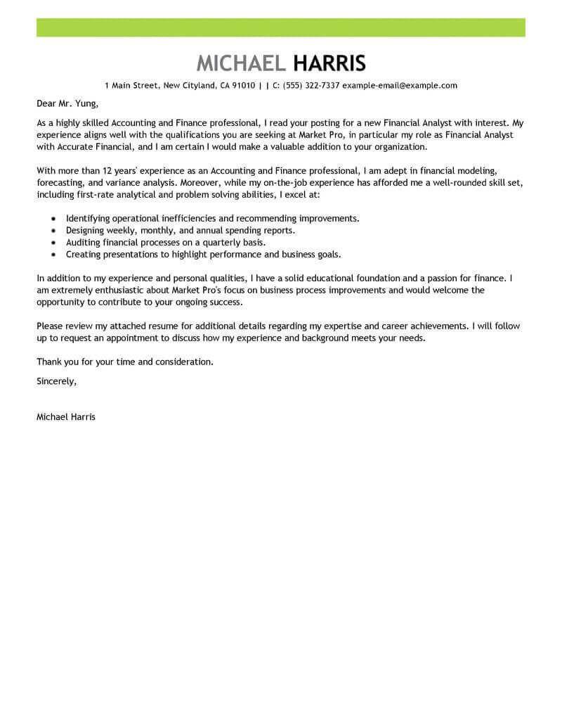 Cover Letter Template Finance | Cover letter for resume, Job ...