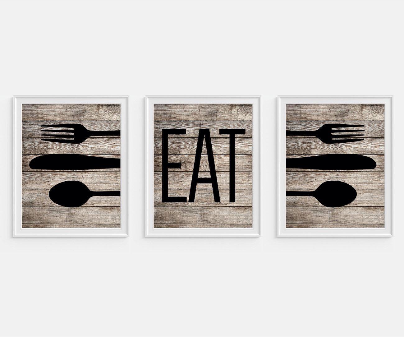Rustic Kitchen Art Print \'Eat\', Fork Spoon Knife Art, Faux Wood ...