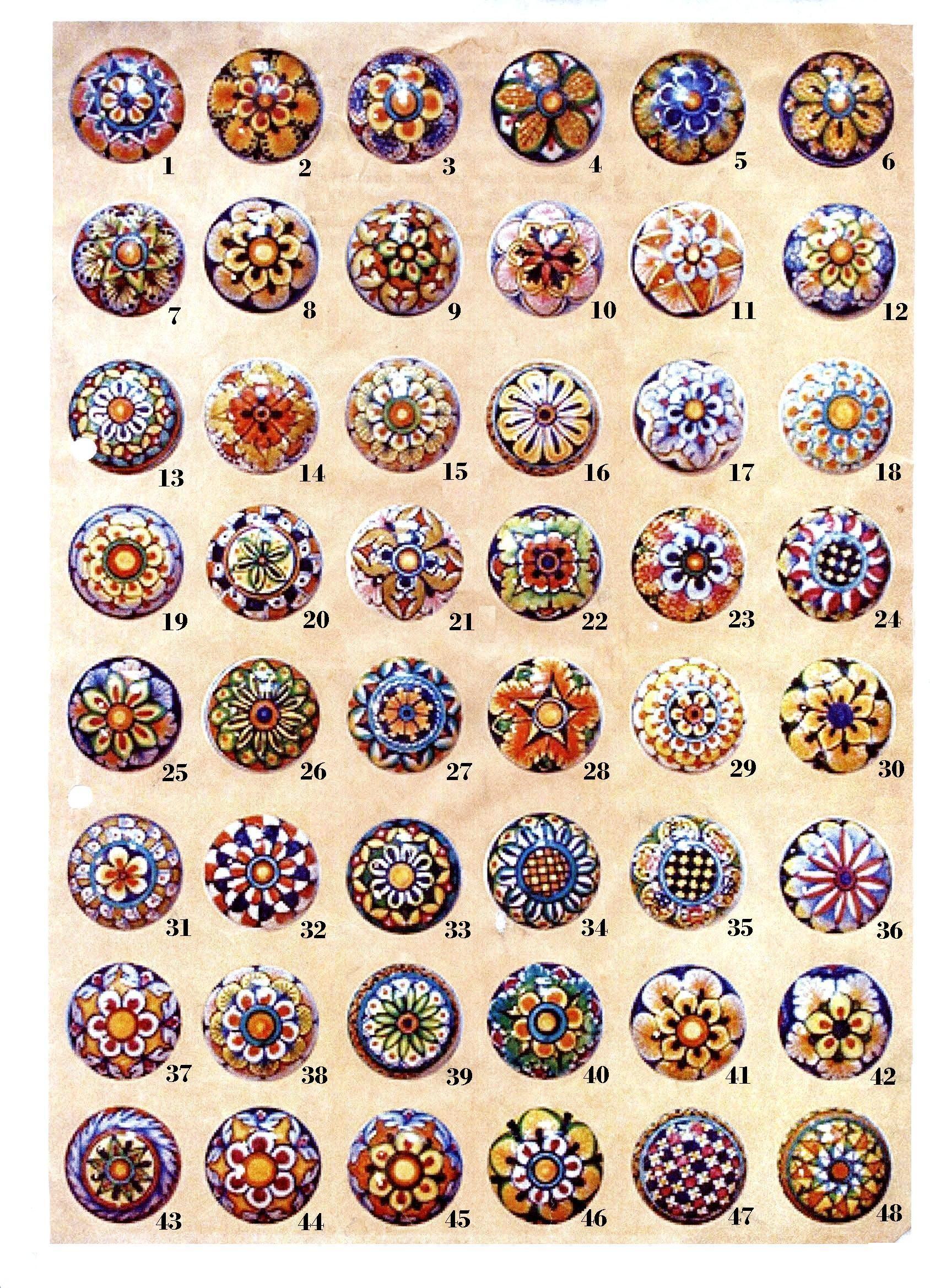 Knobs - Kitchen cabitet knows, handpainted knobs, ceramic ...