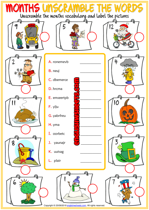 Months Unscramble The Words Esl Worksheet For Kids Esl