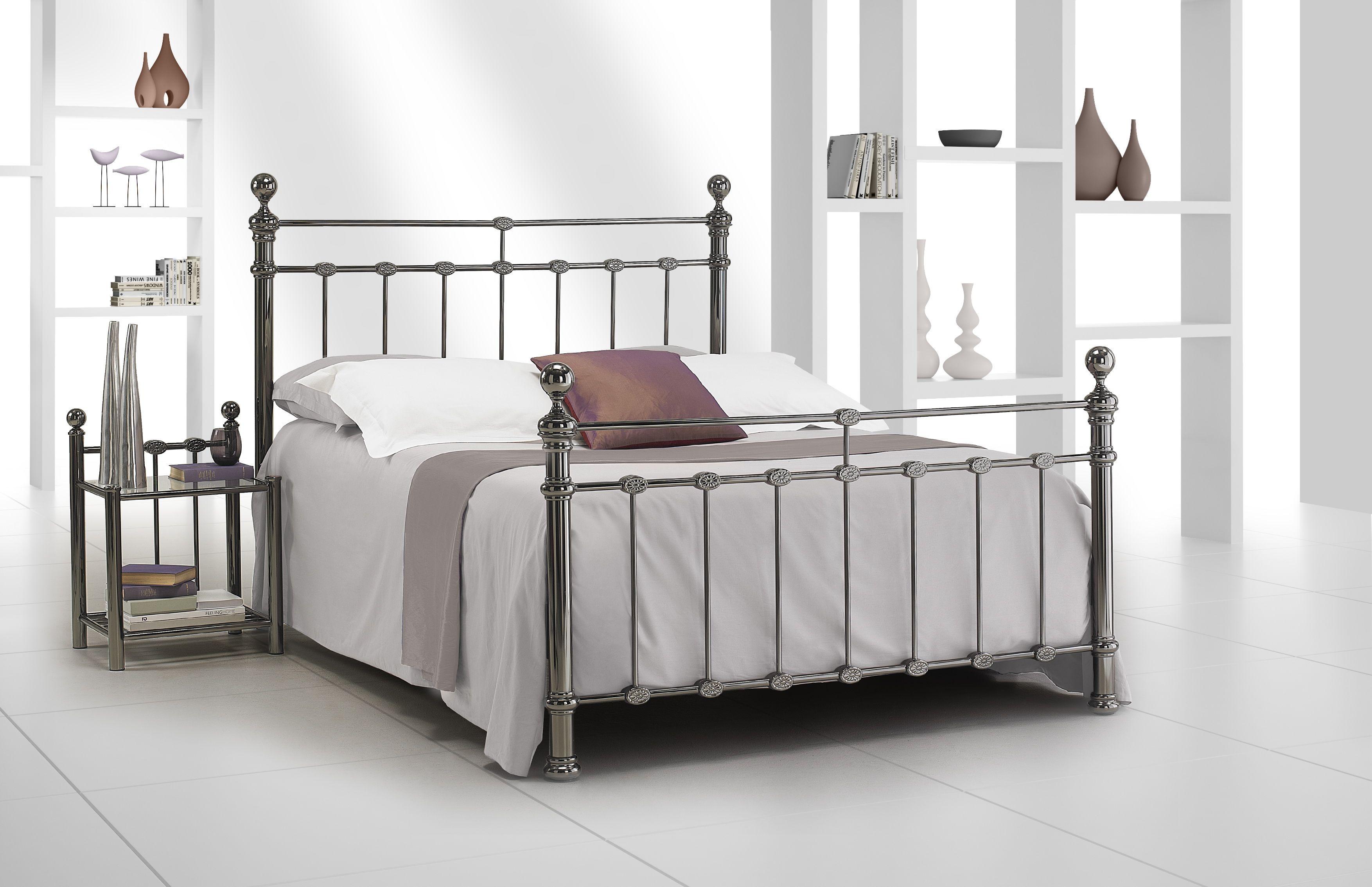 Romantisch bed FLORENCE en Finition Nickel Noir,maat: 140/160/180 Resistub Frankrijk