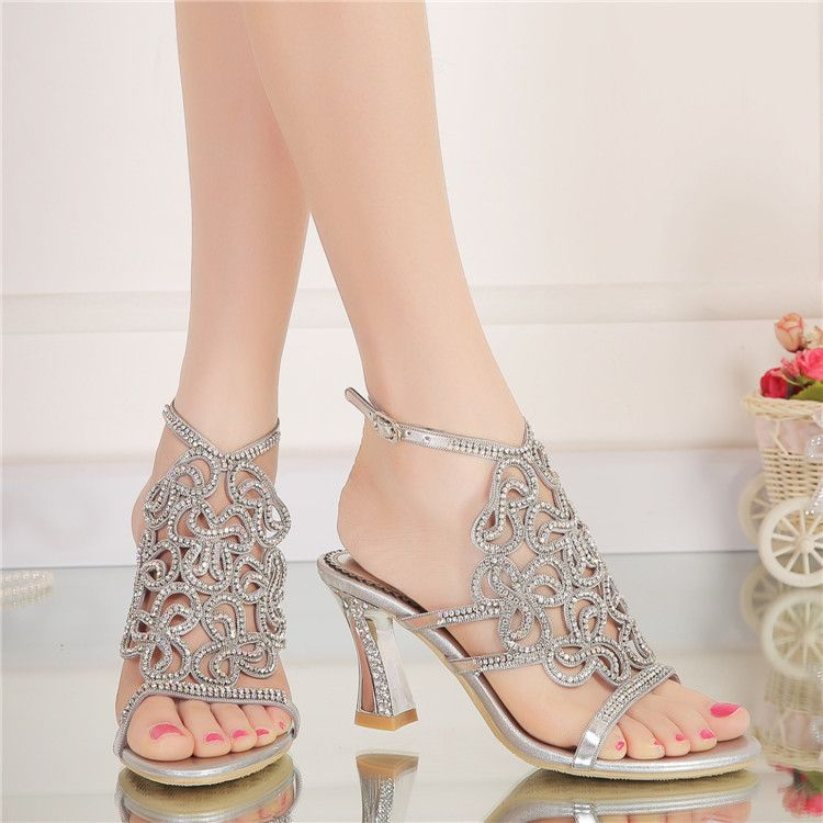 4b648d5bd9187 2017 New Rhinestone Sandals Crystal High Heel Shoes Wedding Shoes Black  Silver Gold Strappy Heels Sandales Femme 8cm