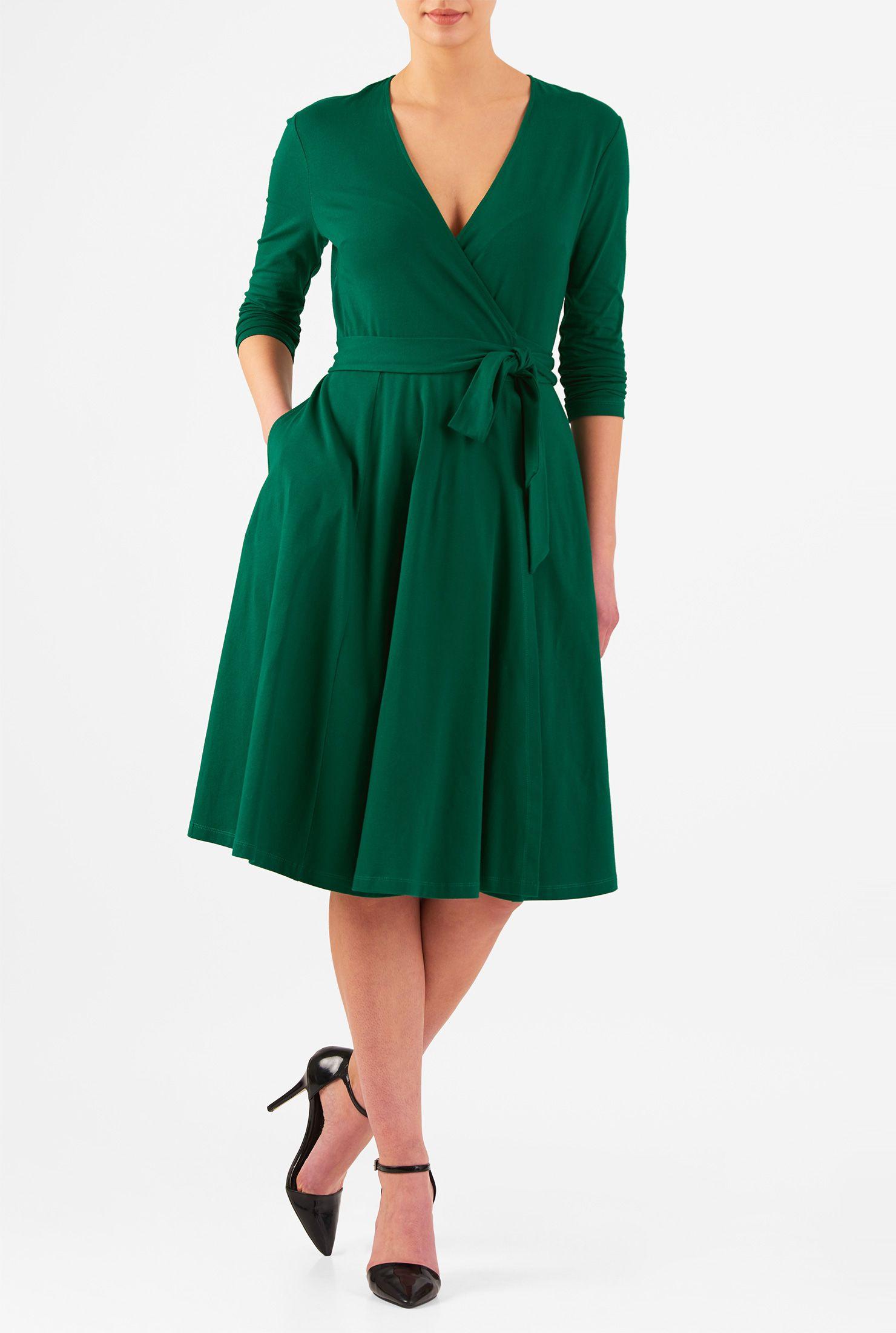 Green dress v neck  Vneck cotton knit wrap dress  Day dresses Knee length dresses and