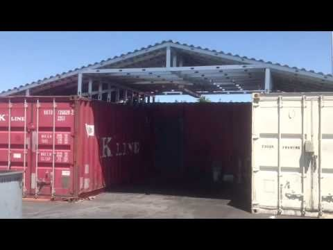 Steel Metal Roof Over Two Shipping Containers Shipping