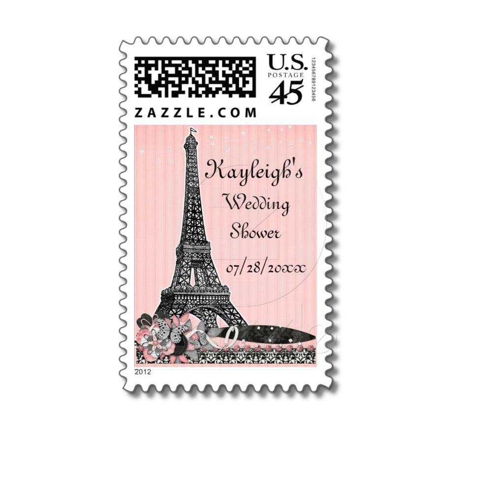 Oh Paris Personalized Wedding Shower Postage   Pinterest   White ...