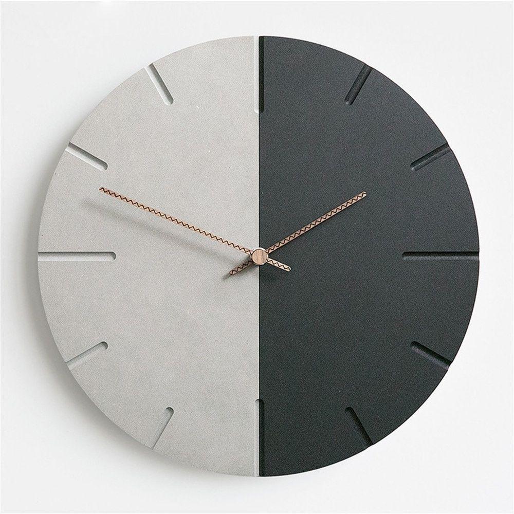 Moderne MDF Board Wanduhr Nordic Runde minimalistische Mode Retro grau schwarz künstlerische lautlos Suzuki Clock für Cafe Home Decor   – Clocks