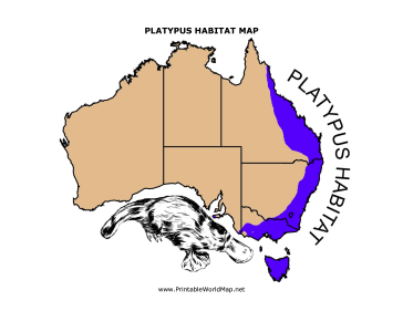 Platypus Habitats Throughout Australia Are Colored In Blue Within This Printable Map For Children Free To Download And Print Platypus Maps For Kids Habitats