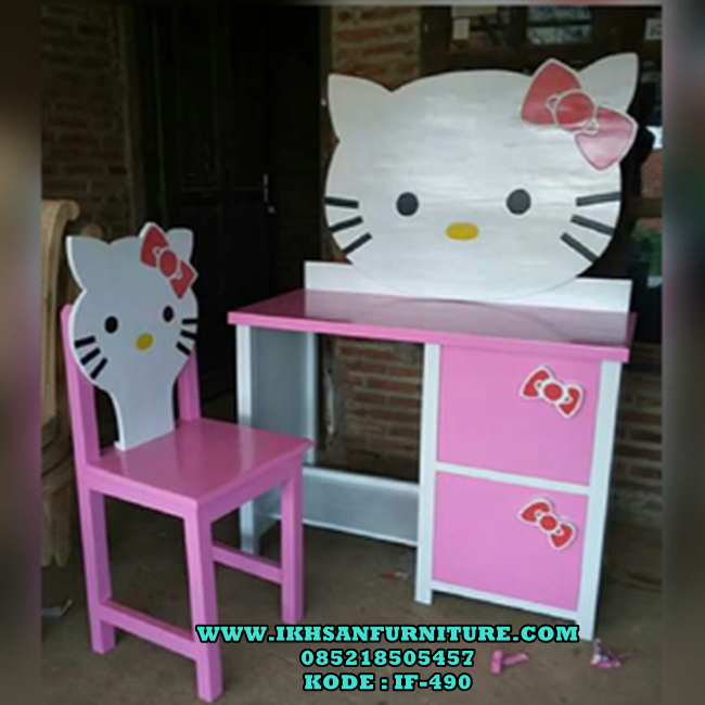 jual meja belajar hello kitty terbaru cat duco model by furniture anak jepara nama