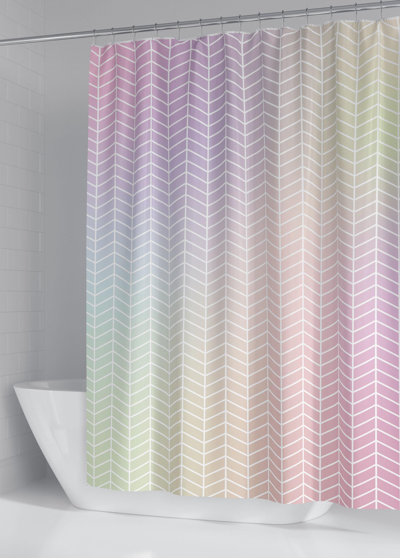 Pastel Holographic Herringbone Pattern Shower Curtain Custom Fabric Shower Curtain Rainb Fabric Shower Curtains Rainbow Shower Curtain Trendy Shower Curtain
