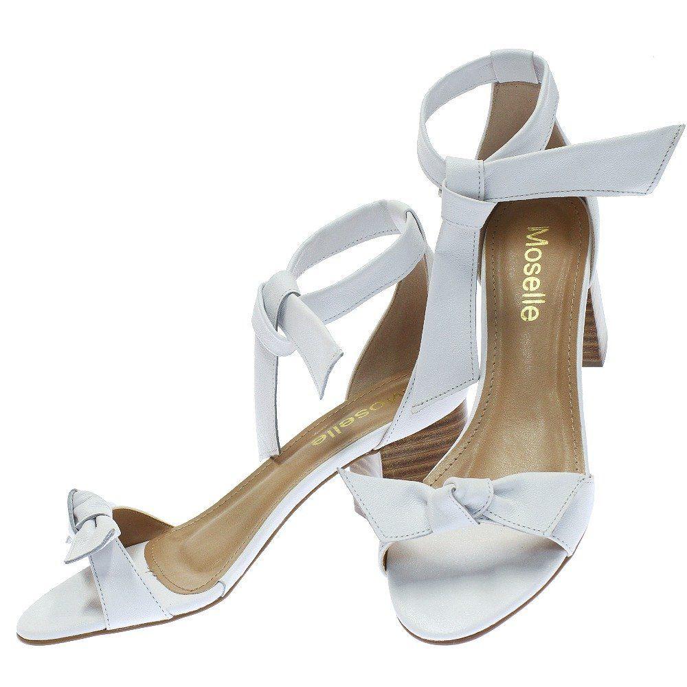 Sandalia Lace Up Salto Bloco Branco 1694 Moselle Moselle Sapatos