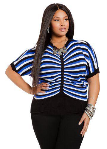 Ashley Stewart Women's Plus Size Ruched Center Striped Sweater $10.35 #AshleyStewart