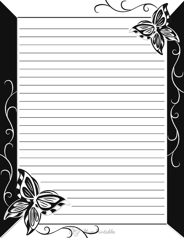 image about Free Printable Stationery Black and White referred to as Pin by way of Muse Printables upon Printable Stationery No cost