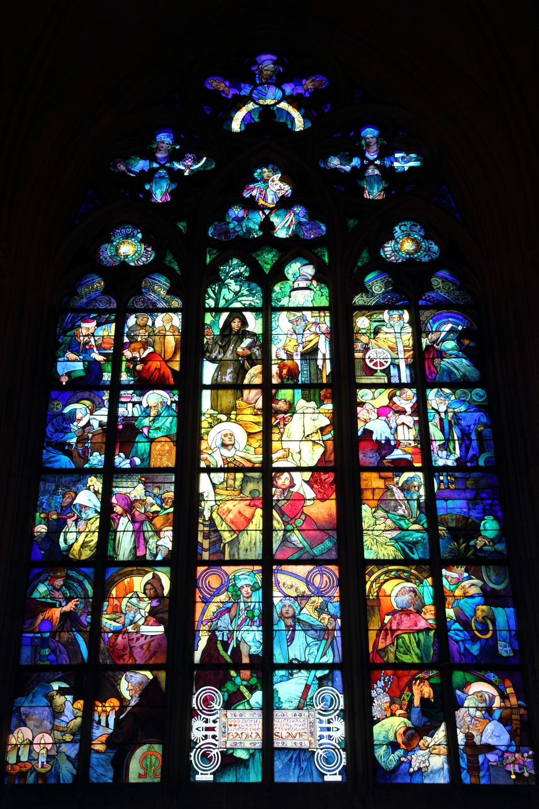 Alphonse Mucha Stained Glass In St Vitus Cathedral In Prague