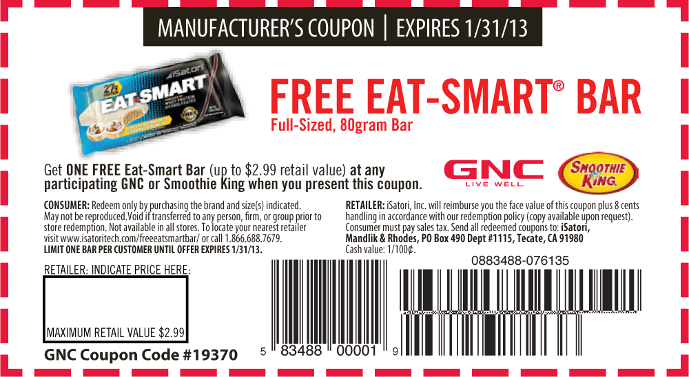graphic about Gnc Coupons in Store Printable titled Free of charge $3 good bar at GNC and Smoothie King coupon through The