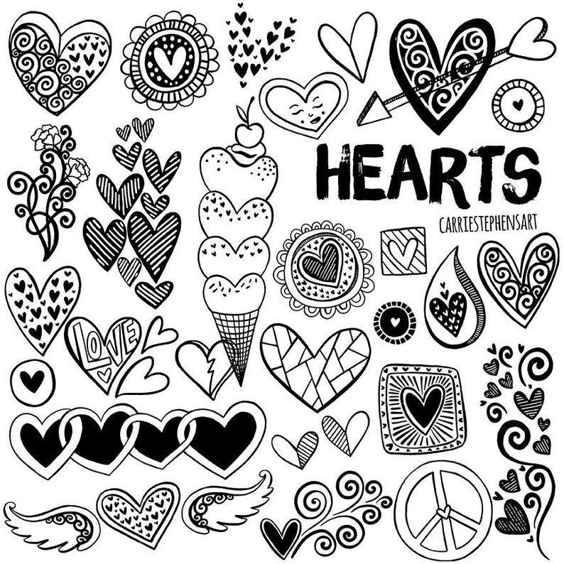 Line Heart Border Clipart Heart Digital Stamps Printable Etsy In 2020 Clip Art Borders Heart Doodle Valentine Doodle