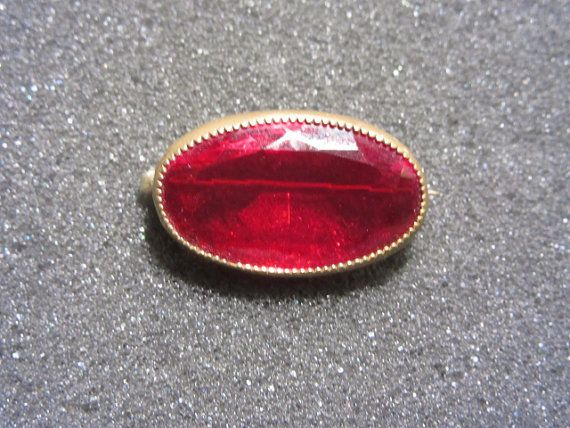 Antique Victorian Ruby Red Glass Stone Pin by darsjewelrybox