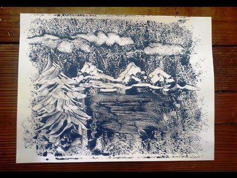Easy Printmaking Landscape (monoprint) - YouTube
