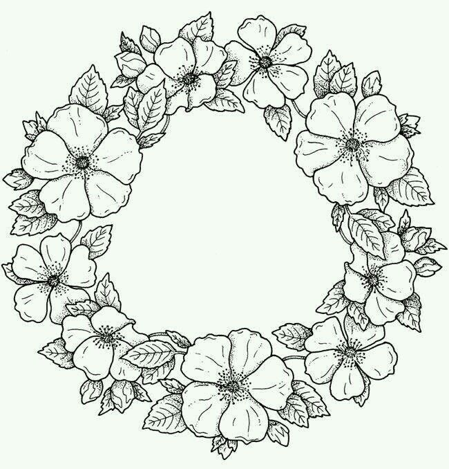 Spring Wreath Flower Drawing Coloring Pages